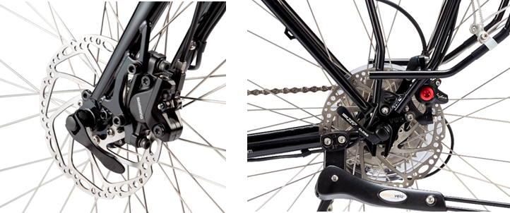 Front and rear disc brakes. Always maintain touring bike brake service